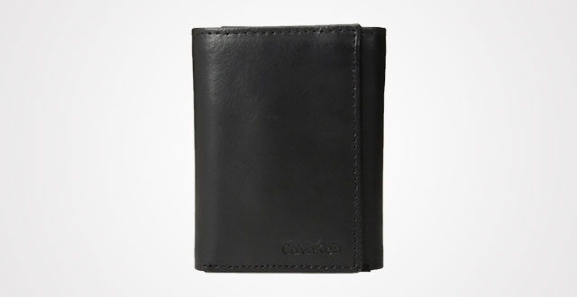37a605ae3 Calvin Klein Men s Pebble Leather Slim Trifold Wallet and Key Fob Set