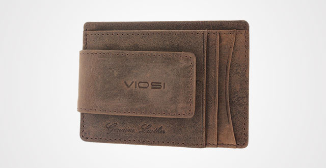 Viosi Genuine Kingston Leather Brown Front Pocket Money Clip Made with Powerf...
